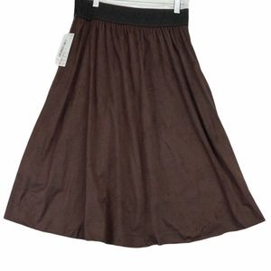 Lularoe Lola Brown velour midi skirt NWT
